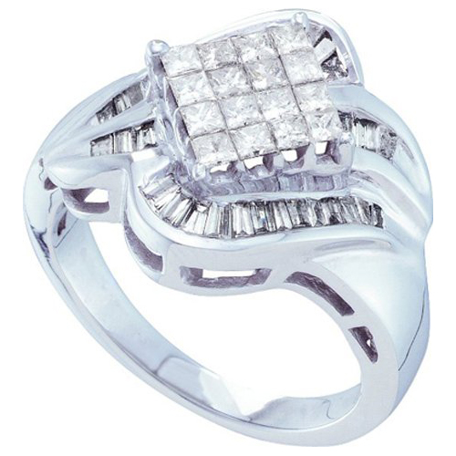 Sea Of Diamonds Ladies 14k White Gold 1.00 CTW Princess Baguette Diamond Invisible Right Hand Engagement Ring