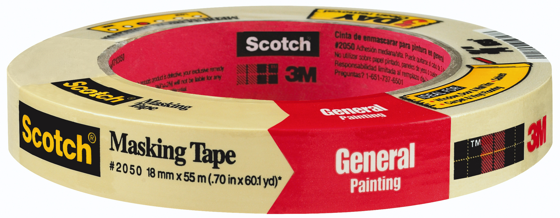 3M Scotch Masking Tape for General Painting .70 in x 60 yd (18mm x 55m) Shrinkwrapped